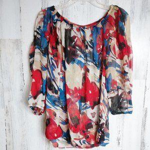 Size 16 3/4 Sleeve Semi-Sheer Blouse Pleated